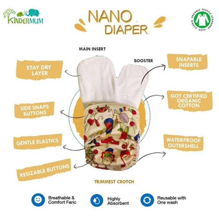 The Nestery: Kindermum - Nano Pro All-In-One Diaper - Baby Doodle