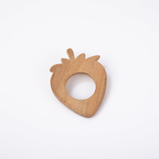 The Nestery: Montessori Toy - Ariro - Neem Wood Teether – Strawberry