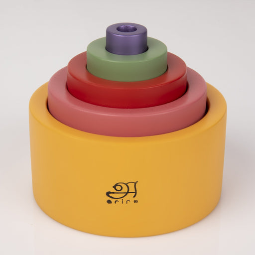 The Nestery: Montessori Toy - Ariro - Wooden Nesting Bowls - Coloured