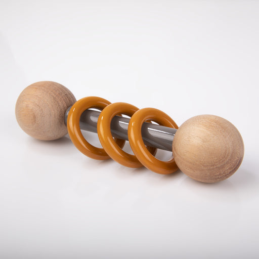The Nestery: Montessori Toy - Ariro - Dumbbell Rattle - Orange