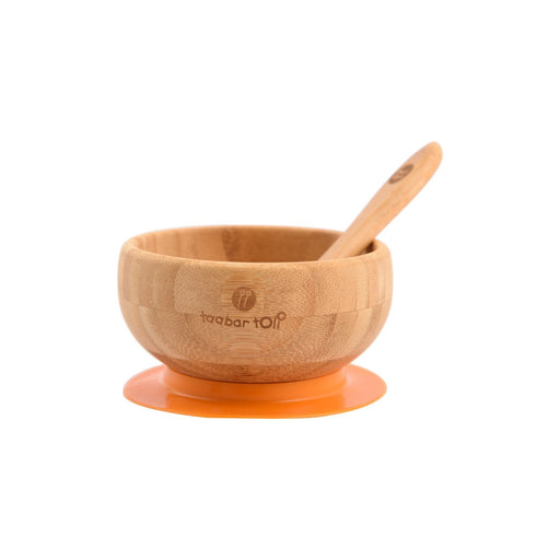 The Nestery : Taabartoli - Bamboo Bowl with Silicone Suction + Spoon (Blue Silicone)
