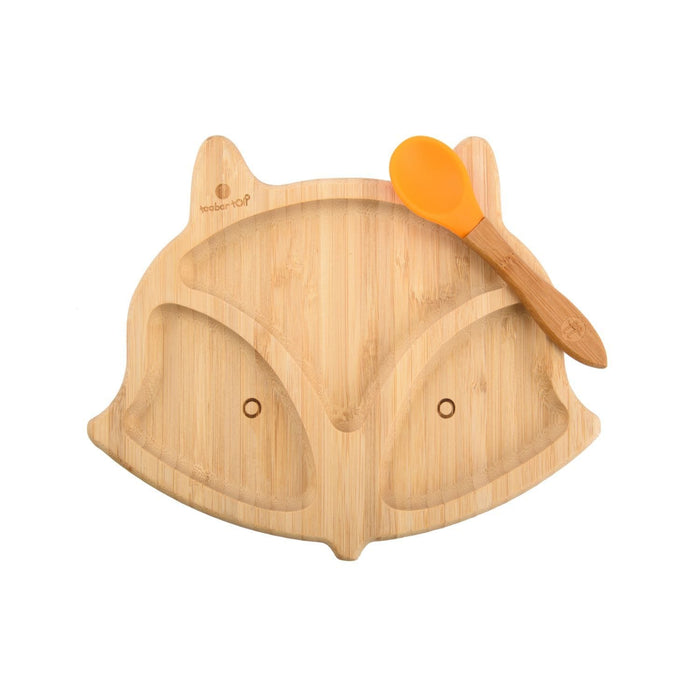 The Nestery : Taabartoli - Bamboo Fox Plate With Silicone Suction + Spoon (Orange  Silicone)