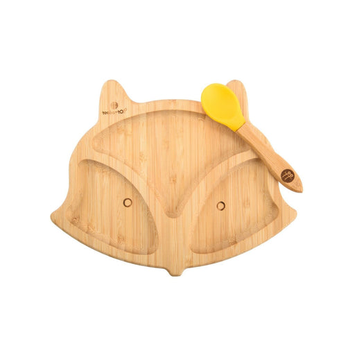 The Nestery : Taabartoli - Bamboo Fox Plate With Silicone Suction + Spoon (Yellow Silicone)