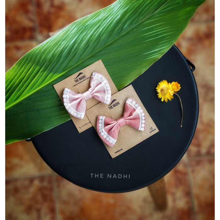 The Nestery : The Nadhi - Bow Clips - Pink