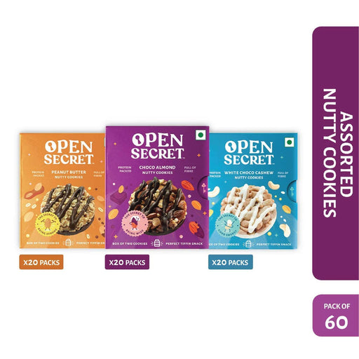 The Nestery : Open Secret - Celebration Pack - Multi Flavour Nutty Cookies (Pack Of 60)