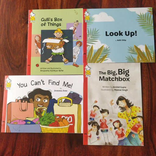 Description: Catch me if you can! combo is a set of 4 books that encourage spotting and scavenger hunts.  Age Description: Level-2 (3-7 years)  Contains: 1. Look up! 2. You can't find me 3. The Big, Big Matchbox 4.Gulli's Box of Things