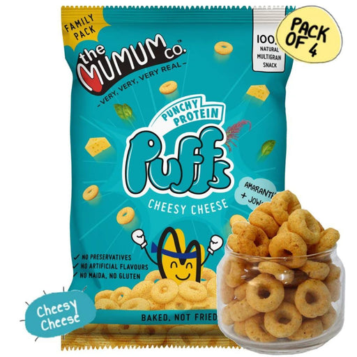 The Nestery : The Mumum Co. - 100% Natural Multigrain Protein Puffs - Cheesy Cheese - Pack Of 4 (60Gm X 4)
