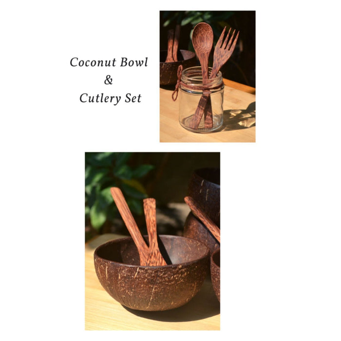 The Nestery :Almitra Sustainables - Coconut Bowl And Cutlery Combo