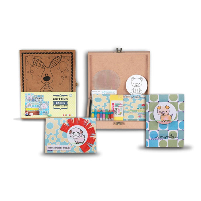 The Nestery :Craftopedia - Colour In Greeting Cards, Keepsake Box and Rakhi Combo