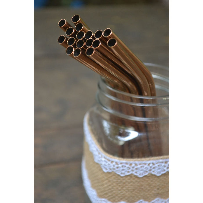 The Nestery :Almitra Sustainables - Reusable Copper Straw (Bent) Pack Of 2 With Cleaner