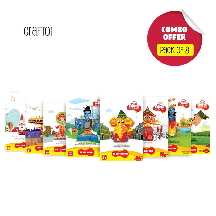 CRAFTOI PACK OF 8 : 3D DIY PAPER CRAFT KIT TOY INDIAN FESTIVALS