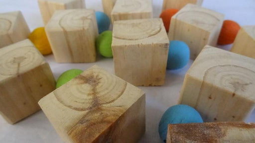 PLAIN WOODEN BLOCKS - 3CM CUBES