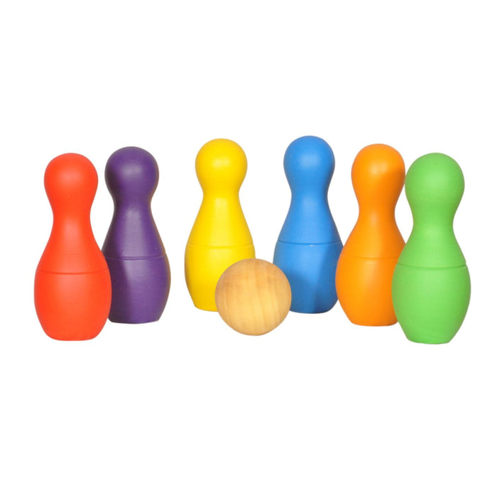 Wooden Rainbow Bowling Set