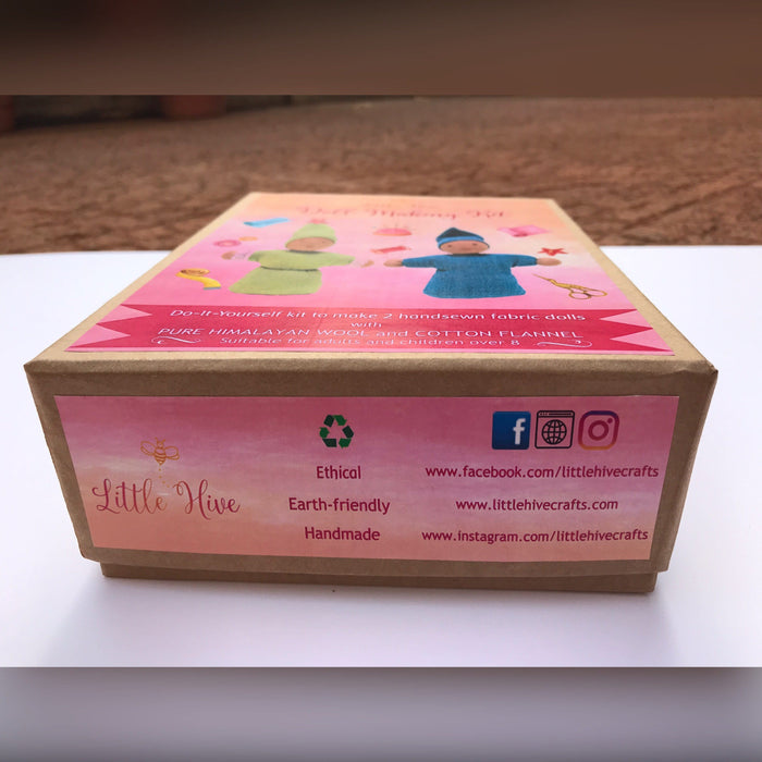 This image shows the box packaging of the doll making kit.
