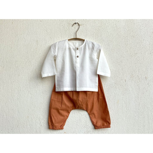 The Nestery : Whitewater Kids - Kurta & Pyjama Set - Essential White Kurta + Orange Pyjama