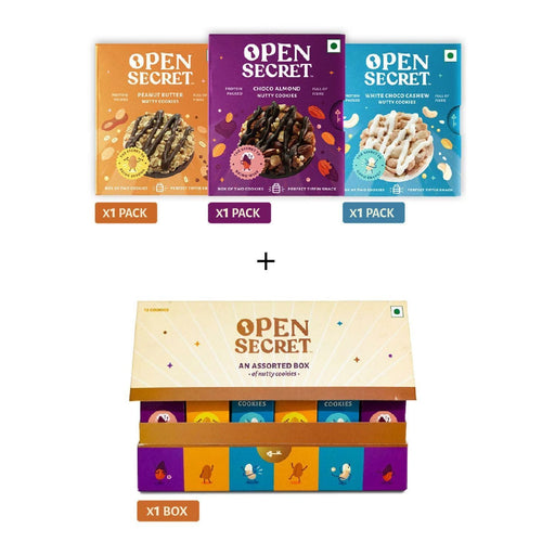 The Nestery : Open Secret - Gifting Delight - Multi Flavour Nutty Cookies + Gift Pack