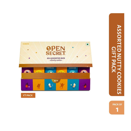 The Nestery : Open Secret - Gifting Delight - Multi Flavour Nutty Cookie Assorted Gift (Pack Of 1)