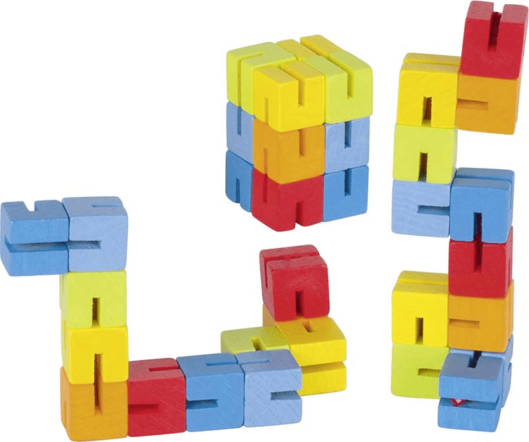 GOKI FLEXIBLE WOODEN CUBE PUZZLE TWISTERS (Set of 2)