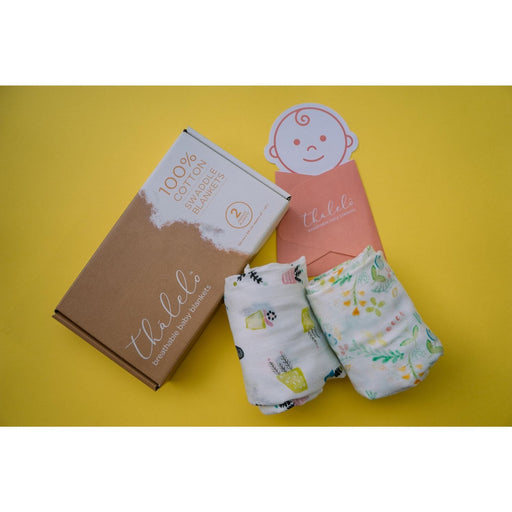 The Nestery : Thä€Lelo - Muslin Set Of 2 Swaddles - Garden
