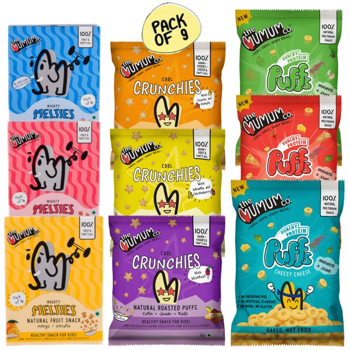 The Nestery :The Mumum Co. - Natural Fruit Snacks And Multigrain Roasted Puffs - Weekly Combo Pack Of 9