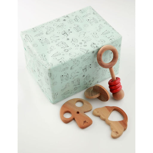 The Nestery: Montessori Toy - Ariro - Infant Gift Set - 5 (Teether, Rattle)