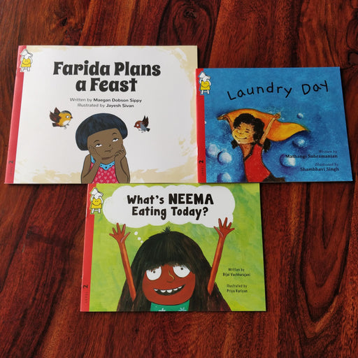 Description: Girl Power combo is a set of 3 books with leading ladies.  Age Description: Level-1 (3-7 years)  Contains: 1. Laundry Day 2. What's Neema eating today? 3. Farida plans a feast