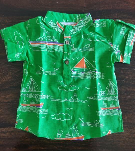 Green Boats Kurta