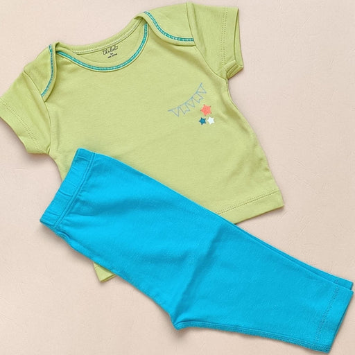 The Nestery : Thalelo - T - Shirt + Pant Set - Green And Blue