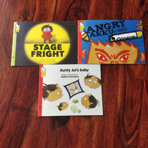 Description: Growth pangs combo is a set of 3 books apt for toddlers and kindergartners about sibling envy, stage fright,   Age Description: Level-2,3 (3-7 years)  Contains: 1. Aunty Jui's baby 2. Stage Fright 3. Angry Akku