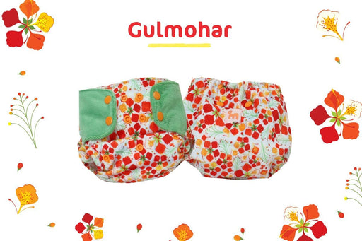 "SUPERSOFT COVER DIAPER ""EASY TABS"" WITH 1 DRY-FEEL SOAKER - GULMOHAR"