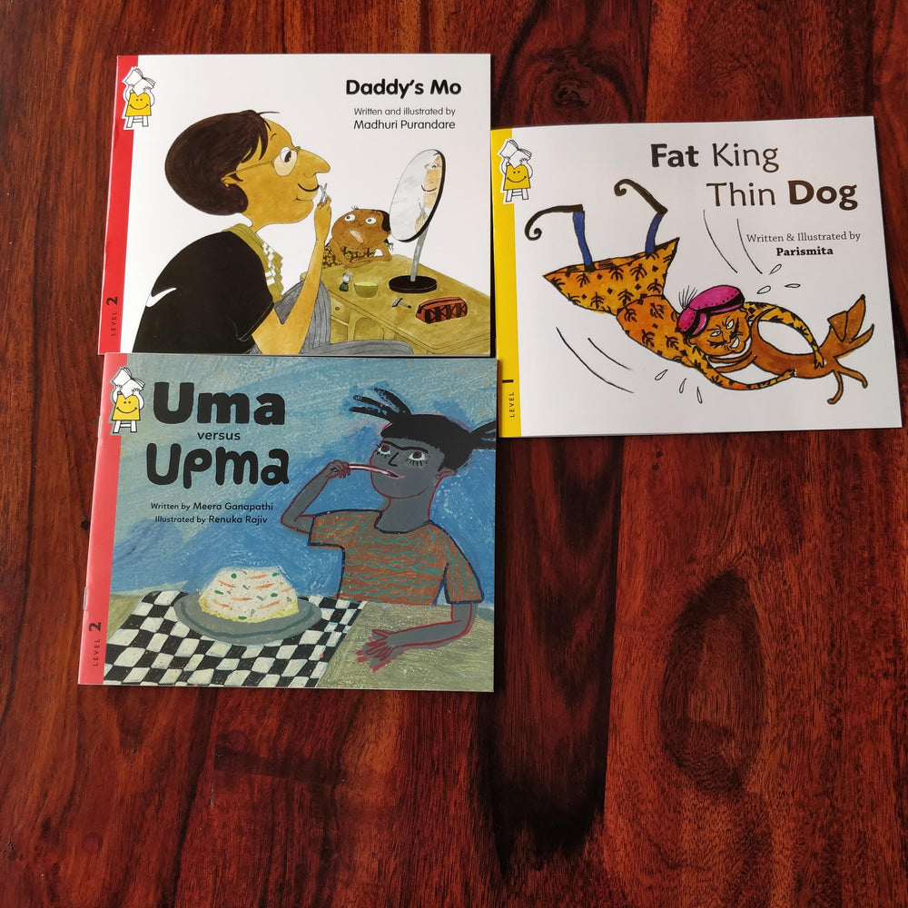 Description: LOL combo is a set of 3 books apt for toddlers and kindergartners to set them 'LOL'ing.  Age Description: Level-1,2 (0-3, 3-7 years)  Contains: 1. Daddy's MO 2. Uma vs Upma 3. Fat King Thin Dog
