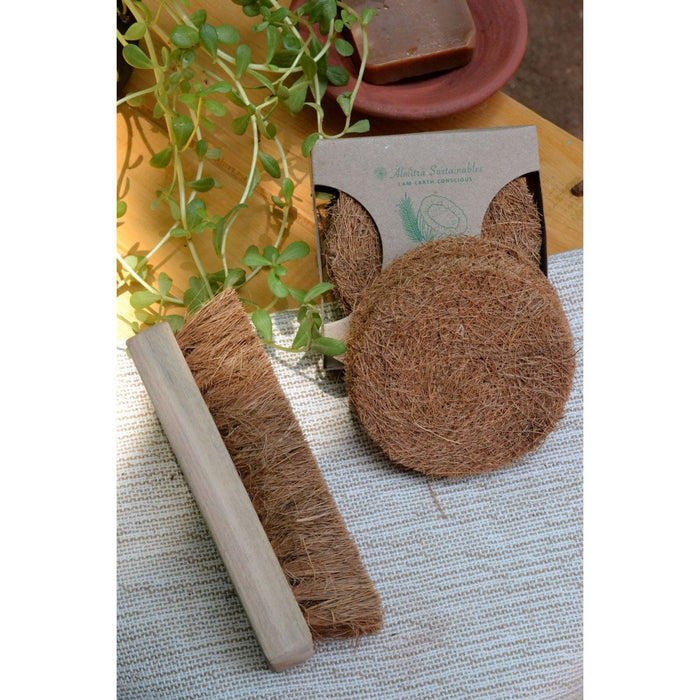 The Nestery : Almitra Sustainables - Coconut Fibre - Coirscrub And Laundry Brush
