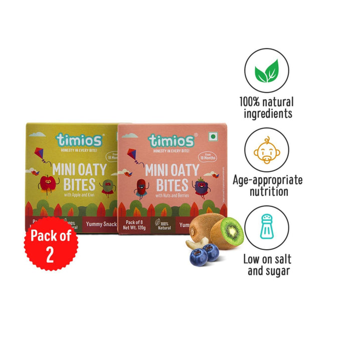 The Nestery : Timios Mini Oaty Bites -  Soft and chewy consistency, These bites dissolve easily in the child's mouth is perfect for toddlers and preschoolers.