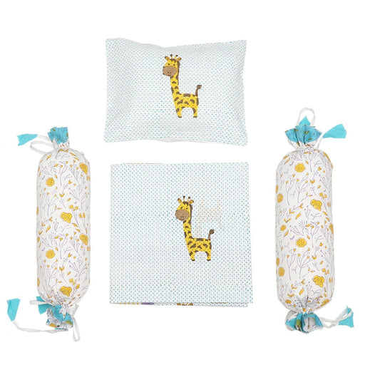 The Nestery : Masaya - Cot Bedding Set : My Best Friend Gira, The Giraffe - Blue