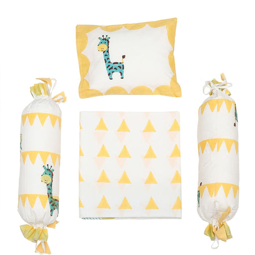 The Nestery : Masaya - Cot Bedding Set : My Best Friend Gira The Giraffe - Yellow Big Triangle
