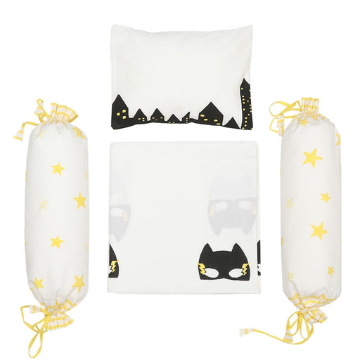 The Nestery : Masaya - Cot Bedding Set : Superbaby Flies Over Town - Black