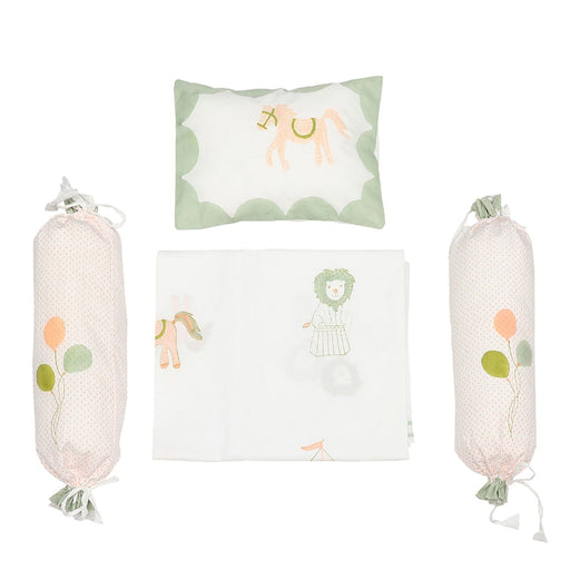 The Nestery : Masaya - Cot Bedding Set : I Am Going To The Circus - Peach