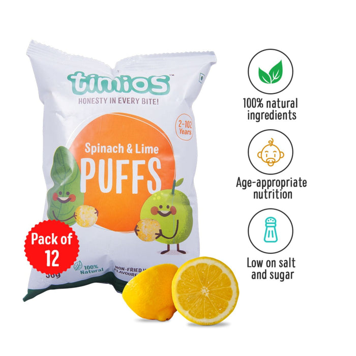 SNACKS SPINACH & LIME PUFFS - PACK OF 12