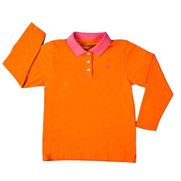The Nestery : Greendigo - Polo Tshirt With Full Sleeves - Marigold