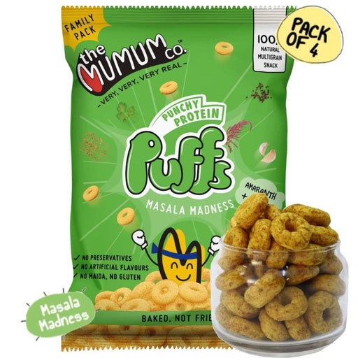 The Nestery : The Mumum Co. - 100% Natural Multigrain  Protein Puffs - Masala Madness - Pack Of 4 (60Gm X 4)