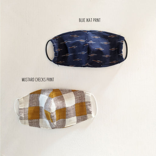 The Nestery : The Clever Fox - Face Mask - Blue Ikat