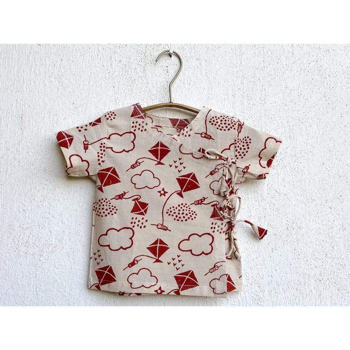 The Nestery : Whitewater Kids - Angarakha Top & Pyjama Set - Patang Print Angarkha + Red Pyjama