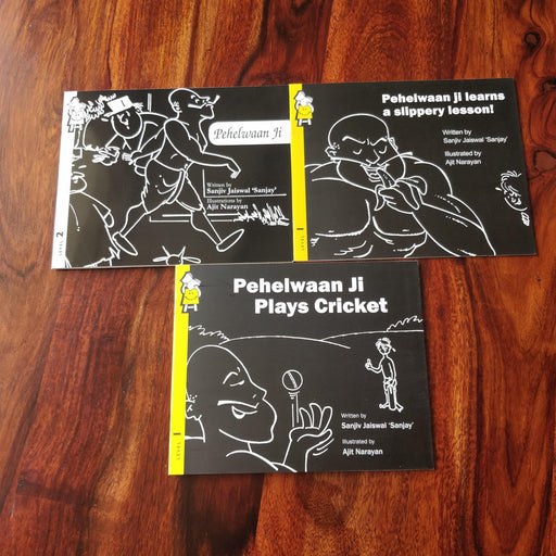 Description: Pehelwaanji Combo combo is a set of 3 books with adventures of Pehelwan ji.  Age Description: Level-1,2 (3-7 years)  Contains: 1. Pehelwan ji learns a slippery lesson 2. Pehelwan ji plays cricket 3. Pehelwan ji