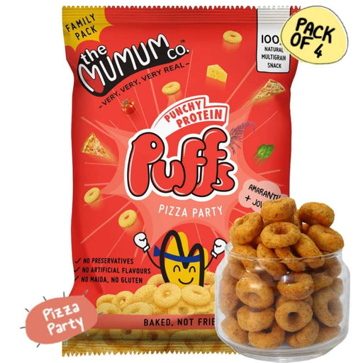 The Nestery : The Mumum Co. - 100% Natural Multigrain  Protein Puffs - Pizza Party - Pack Of 4 (60Gm X 4)