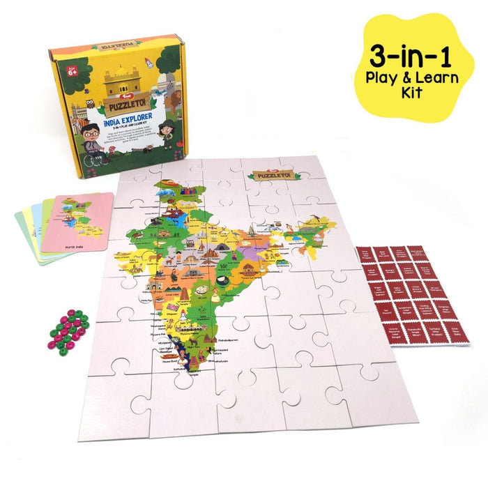 Puzzletoi - India Explorer 3 In 1 Play And Learn Kit