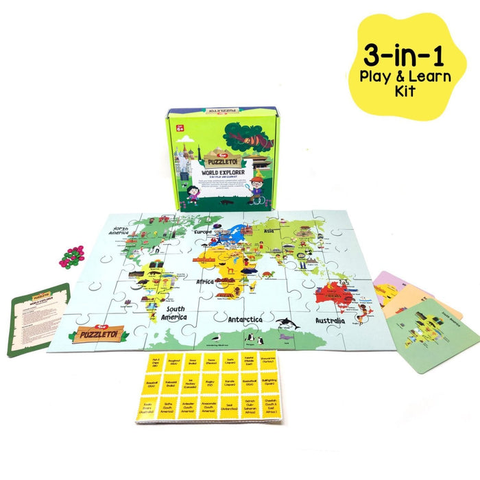 PUZZLETOI - WORLD EXPLORER 3 IN 1 PLAY AND LEARN KIT