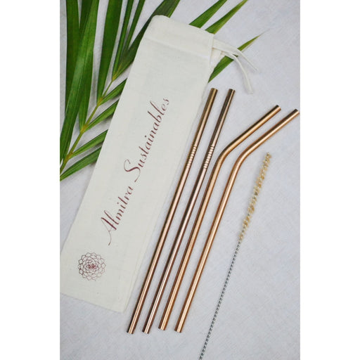 The Nestery :Almitra Sustainables - Reusable Copper Straw Pack Of 4 With Cleaner (2 Bent + 2 Straight)