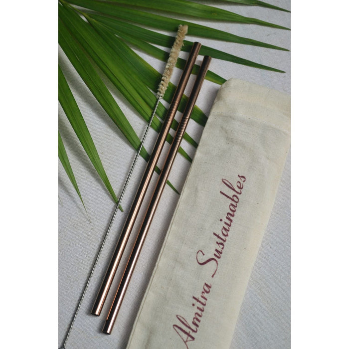 The Nestery :Almitra Sustainables - Reusable Copper Straw (Straight) Pack Of 2 With Cleaner