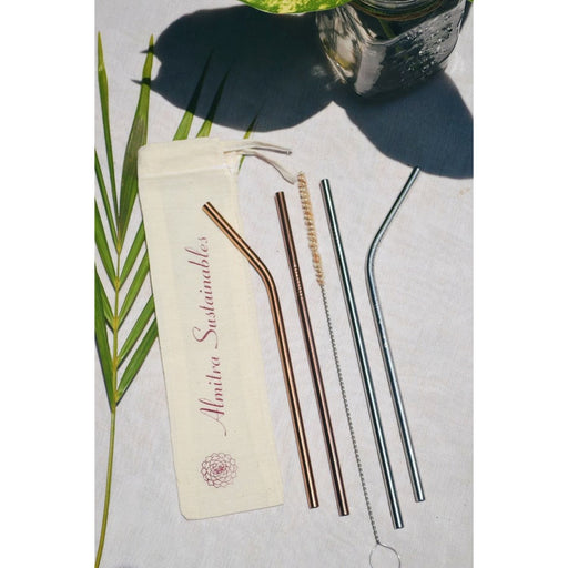 The Nestery :Almitra Sustainables - Reusable Drinking Straw Set