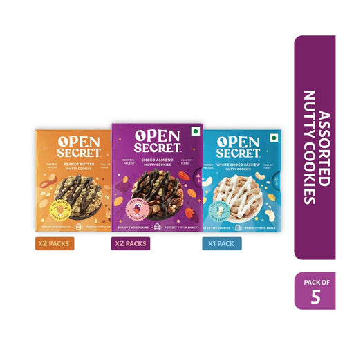 The Nestery : Open Secret - Snack Combo - Multi Flavour Nutty Cookies (Pack Of 5)